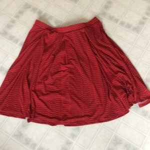 LulaRoe Pleated Front Red Full Knit Skirt